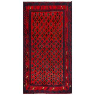 Herat Oriental Afghan Hand-knotted Tribal Balouchi Red/ Blue Wool Area Rug (3'5 x 6'5)