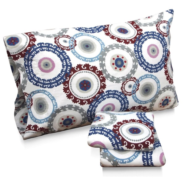 Tribeca Living Medallion Floral Printed Extra Deep Pocket Flannel Sheet Set