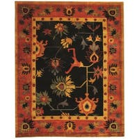 Safavieh Hand-knotted Ancient Weave Black/ Red Wool Rug - 9' x 12'