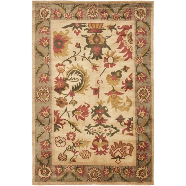 Safavieh Hand-knotted Ancient Weave Ivory/ Sage Wool Rug - 9' x 12'