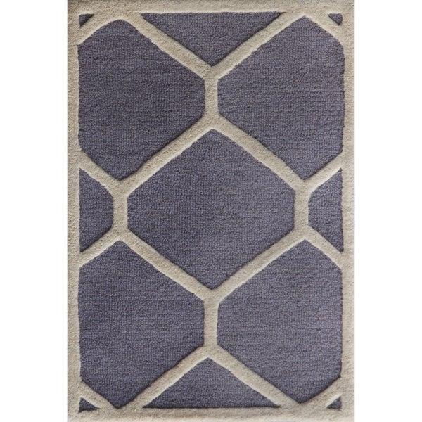 Safavieh Handmade Moroccan Cambridge Silver/ Ivory Wool Rug - 2'6 x 4'