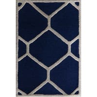 Safavieh Handmade Moroccan Cambridge Navy/ Ivory Wool Rug with Durable Backing - 3' x 5'