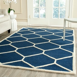 Safavieh Handmade Moroccan Cambridge Navy/ Ivory Wool Rug (5' x 8')