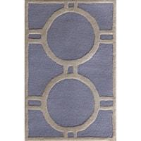 Safavieh Handmade Moroccan Cambridge Light Circle Pattern Blue/ Ivory Wool Rug - 3' x 5'