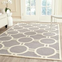 Safavieh Handmade Moroccan Cambridge Silver/ Ivory Contemporary Wool Rug - 8' x 10'