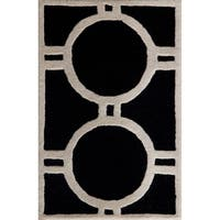"Safavieh Handmade Moroccan Cambridge Black/ Ivory Wool Rug - 2'6"" x 4'"