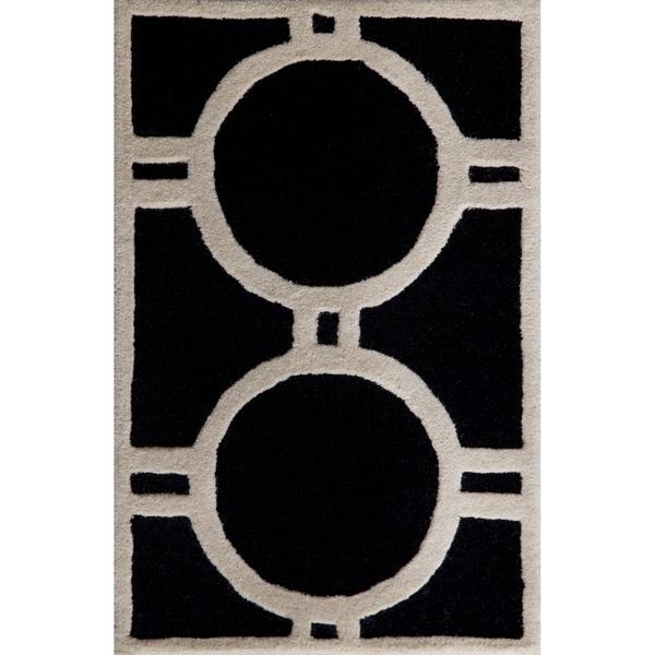 Safavieh Handmade Moroccan Cambridge Black/ Ivory Wool Rug (2'6 x 4')