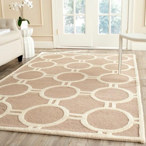 Safavieh Handmade Moroccan Cambridge Circles-pattern Beige/ Ivory Wool Rug - 9' x 12'