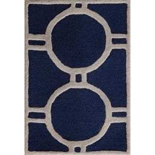 Safavieh Contemporary Handmade Moroccan Cambridge Navy/ Ivory Wool Rug (3' x 5')