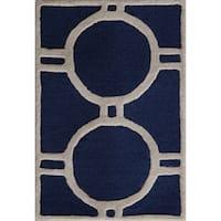 Safavieh Contemporary Handmade Moroccan Cambridge Navy/ Ivory Wool Rug - 3' x 5'