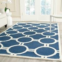 Safavieh Handmade Moroccan Cambridge Circles-pattern Navy/ Ivory Wool Rug - 6' x 9'