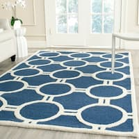 Contemporary Safavieh Handmade Moroccan Cambridge Navy/ Ivory Wool Rug - 8' x 10'