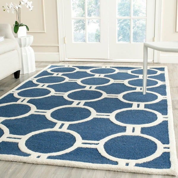 Safavieh Handmade Moroccan Cambridge Navy/ Ivory Wool Rug with Canvas Backing - 9' x 12'