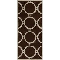 Safavieh Handmade Moroccan Cambridge Canvas-backed Dark Brown/ Ivory Wool Rug - 2'6 x 6'