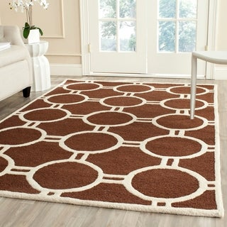 Safavieh Handmade Contemporary Moroccan Cambridge Dark Brown/ Ivory Wool Rug (9' x 12')