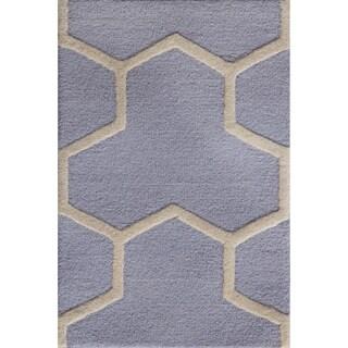 Safavieh Handmade Contemporary Moroccan Cambridge Light Blue/ Ivory Wool Rug (2' x 3')
