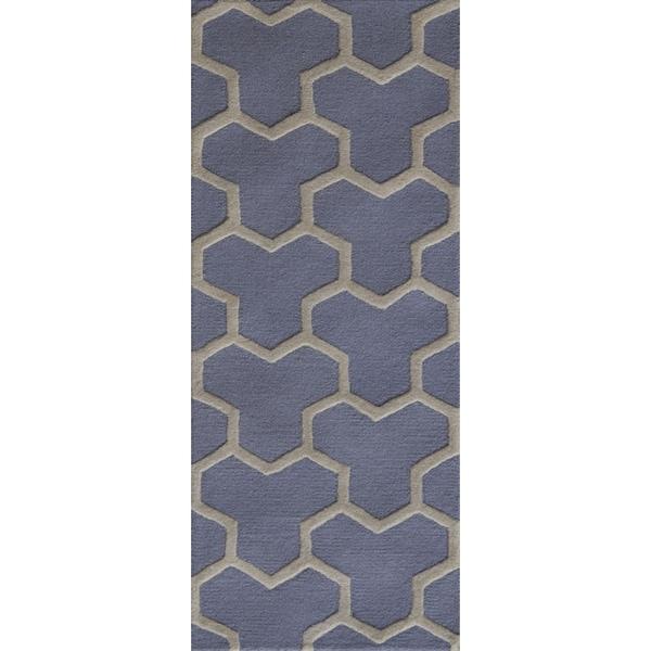 Safavieh Handmade Moroccan Cambridge Light Blue/ Ivory Geometric Wool Rug - 2'6 x 6'