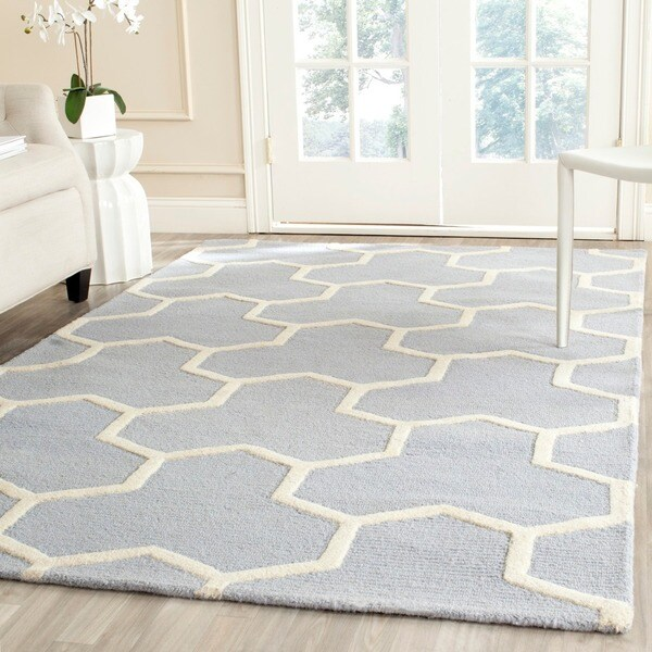 Safavieh Handmade Moroccan Cambridge Light Blue/ Ivory Wool Area Rug - 9' x 12'