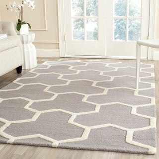 Safavieh Handmade Contemporary Moroccan Cambridge Silver/ Ivory Wool Rug (9' x 12')