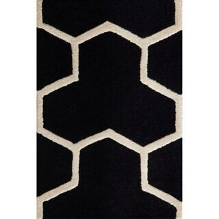Safavieh Handmade Moroccan Cambridge Collection Black/ Ivory Wool Rug (3' x 5')