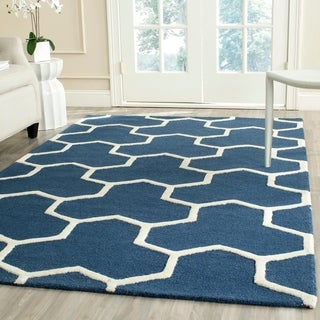 Contemporary Safavieh Handmade Moroccan Cambridge Navy/ Ivory Wool Rug (9' x 12')