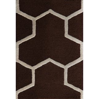 Safavieh Handmade Moroccan Cambridge Dark Brown/ Ivory Wool Rug with 0.5-Inch Pile (3' x 5')