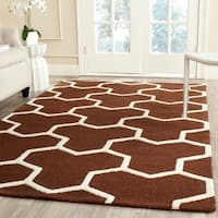 Safavieh Handmade Moroccan Cambridge Dark Brown/ Ivory Geometric Wool Rug - 8' x 10'