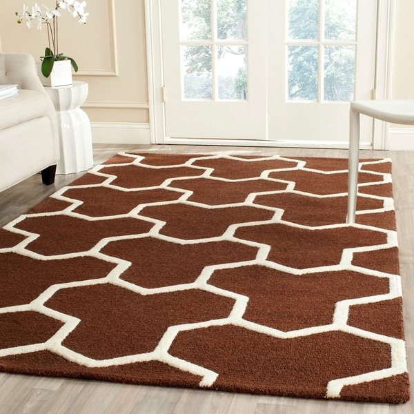 Safavieh Handmade Moroccan Cambridge Dark Brown/ Ivory Wool Rectangular Rug - 9' x 12'