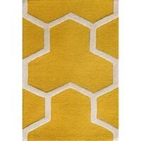 Safavieh Handmade Moroccan Cambridge Gold/ Ivory Wool Rug - 3' x 5'