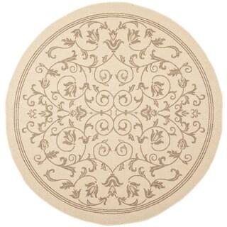 Safavieh Indoor/ Outdoor Courtyard Natural/ Brown Polypropylene Rug (7'10 Round)