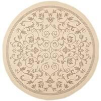 Safavieh Resorts Scrollwork Natural/ Brown Indoor/ Outdoor Rug (7'10 Round)