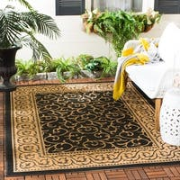 "Safavieh Courtyard Scrollwork Black/ Natural Indoor/ Outdoor Rug - 2' x 3'-7"""