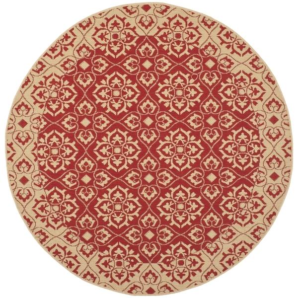 Safavieh Indoor/ Outdoor Courtyard Red/ Cream Rug (7u002710 Round)
