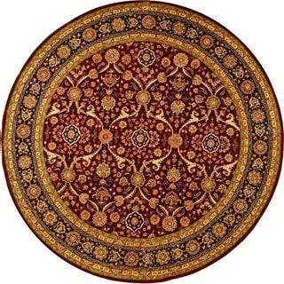 Safavieh Handmade Persian Court Red/ Black Wool/ Silk Rug (6' Round)