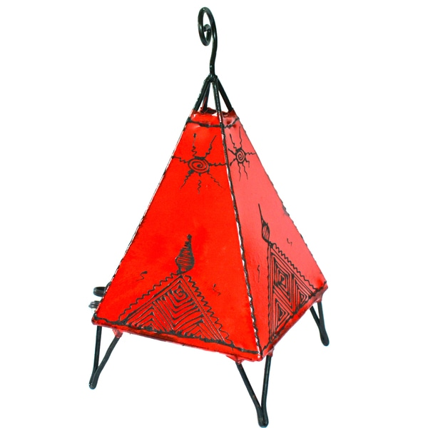 Handmade Red Pyramid Style Leather Henna Lamp (Morocco)