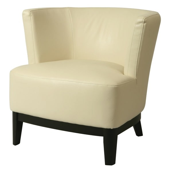Shop Evanville White Leather Club Chair - Free Shipping ...