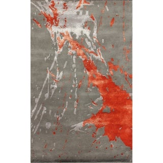Safavieh Handmade Soho Splash Modern Abstract Grey/ Orange Wool Rug (3'6 x 5'6)