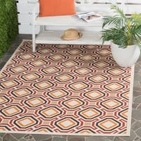 Safavieh Veranda Cream/ Red Geometric Indoor/ Outdoor Rug - 8' x 11'2