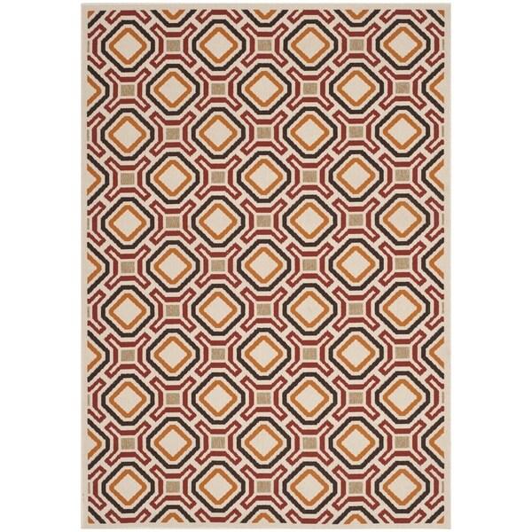 Safavieh Veranda Cream/ Red Geometric Indoor/ Outdoor Rug (8' x 11'2)