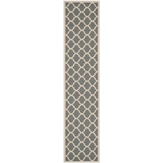 Safavieh Indoor/ Outdoor Courtyard Anthracite/ Beige Polypropylene Rug (2'3 x 14')