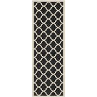"Safavieh Courtyard Moroccan Trellis Black/ Beige Indoor/ Outdoor Rug - 2'3"" x 10'"