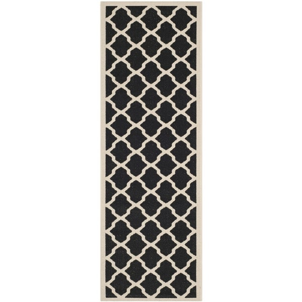 Safavieh Courtyard Moroccan Trellis Black/ Beige Indoor/ Outdoor Rug - 2'3 x 14'