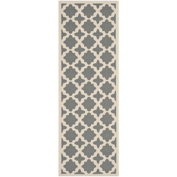 "Safavieh Courtyard All-Weather Anthracite/ Beige Indoor/ Outdoor Rug (2'3"" x 6'7"")"