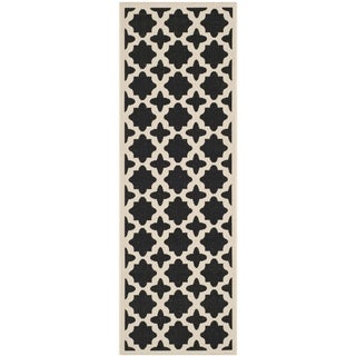 Safavieh Courtyard All-Weather Anthracite/ Beige Indoor/ Outdoor Rug (2'3 x 8')