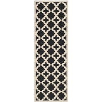 Safavieh Courtyard All-Weather Black/ Beige Indoor/ Outdoor Runner Rug - 2'3 x 14'