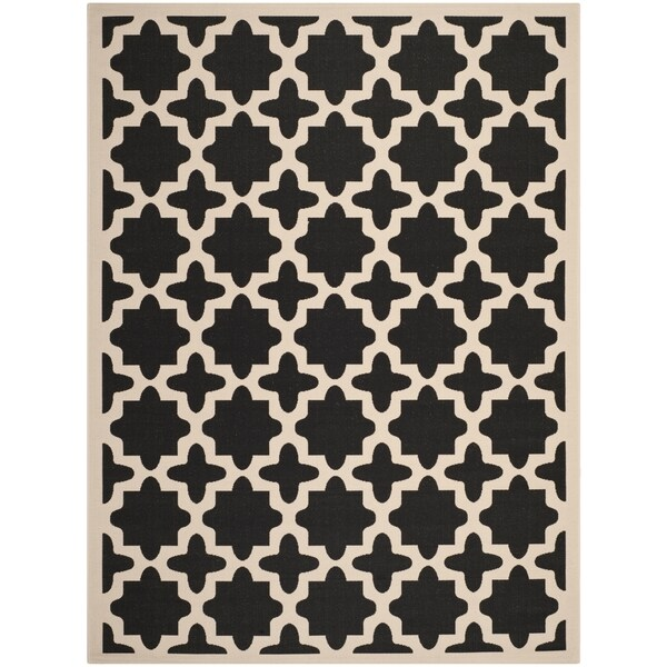 Safavieh Courtyard All-Weather Black/ Beige Indoor/ Outdoor Rug - 9' x 12'