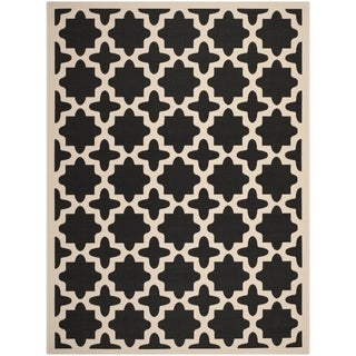 Safavieh Indoor/ Outdoor Courtyard Black/ Beige Area Rug (9' x 12')