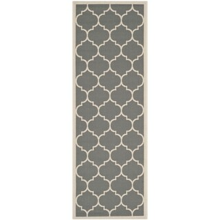 Safavieh Courtyard Moroccan Pattern Anthracite/ Beige Indoor/ Outdoor Rug (2'3 x 12')