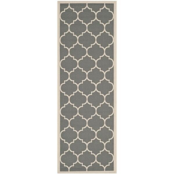 Safavieh Courtyard Moroccan Pattern Anthracite Beige