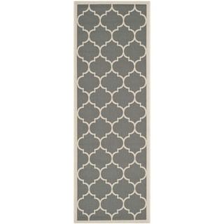 "Safavieh Courtyard Moroccan Pattern Anthracite/ Beige Indoor/ Outdoor Runner Rug (2'3"" x 6'7"")"
